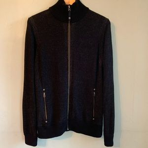 Guess Jeans Full Zip cotton mock neck sweater